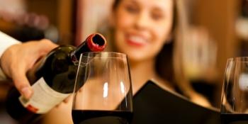 Woman serving wine