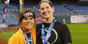 Author Suzann Pileggi Pawelski and teammate
