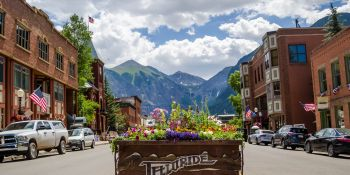 a flower box in downtown Telluride, Colorado