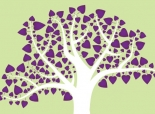 Illustration of tree with purple hearts