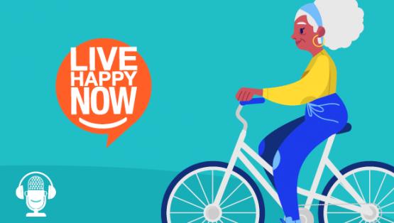 Elderly woman riding a bike