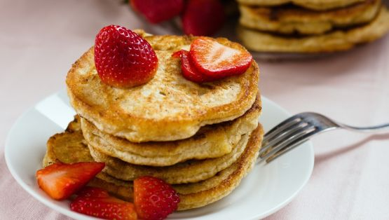 Stack of homemade wholegrain buckwheat pancakes. Individually fried on pan, thus imperfect shape