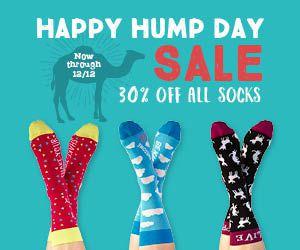 30% off all socks now through 12/12.