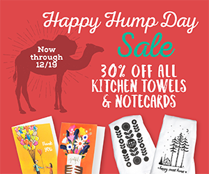 30% off all towels and notecards now through 12/19.