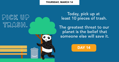 Thursday, March 14 - Pick up trash.