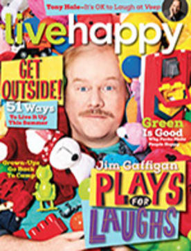 Jim Gaffigan on the cover of Live Happy