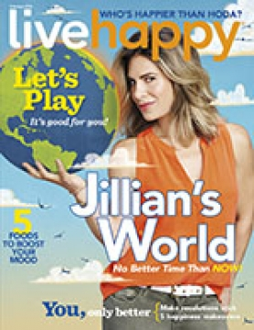 Live Happy February 2016 cover with Jillian Michaels.
