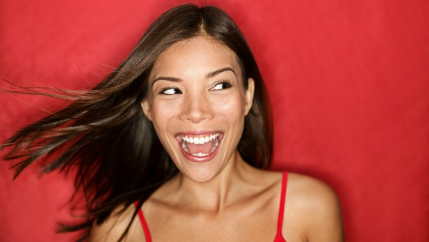 Happy woman in red
