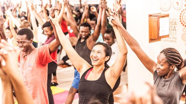 A joyful yoga class.